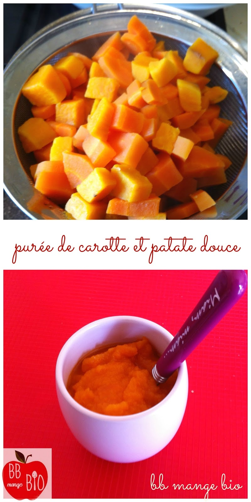 BB mange bio vous donne la recette de la purée de carotte et patate douce à partir de 6 mois