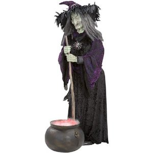 Halloween decorations witch animated life size with for 3 witches halloween decoration