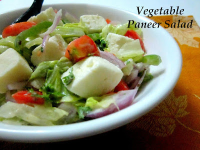 Vegetable Paneer Salad Recipe - With Mango Yogurt Dressing