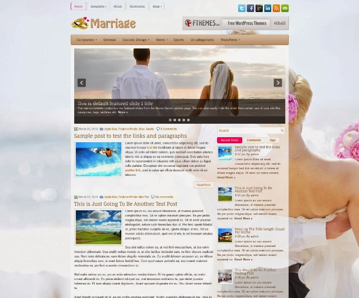 Marriage Free Responsive WordPress Theme