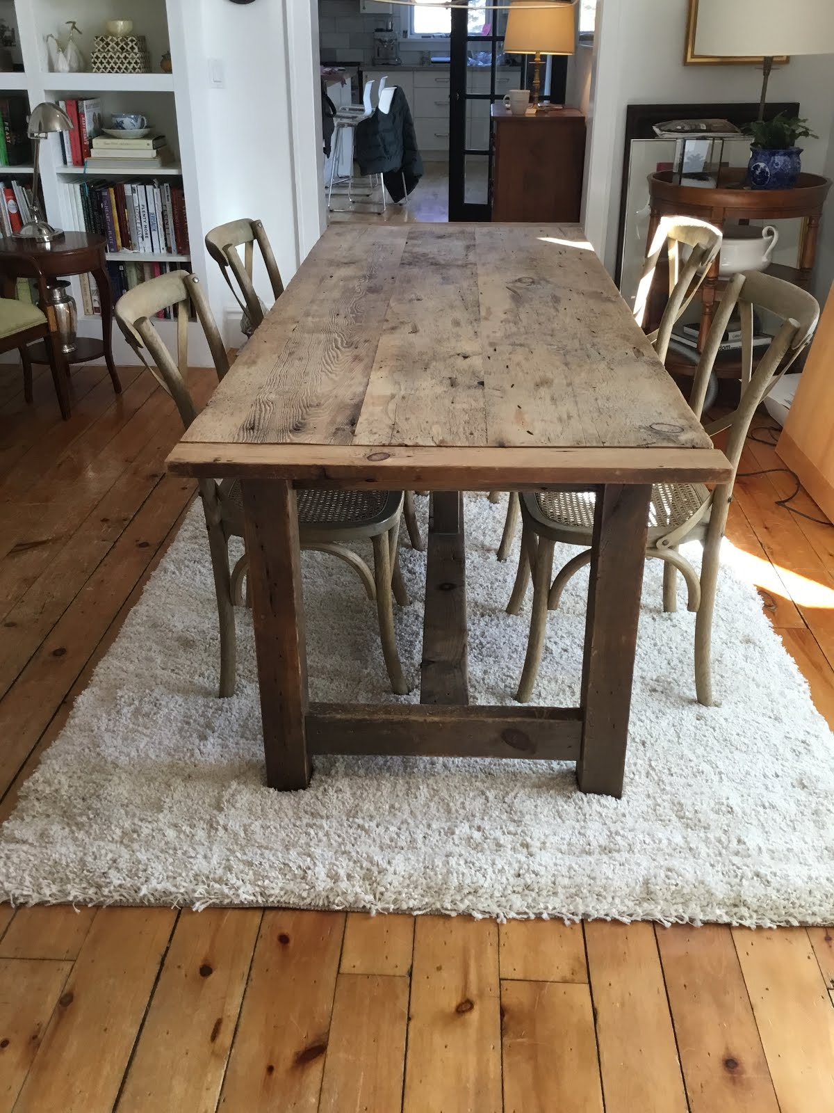 Reclaimed beam dining table