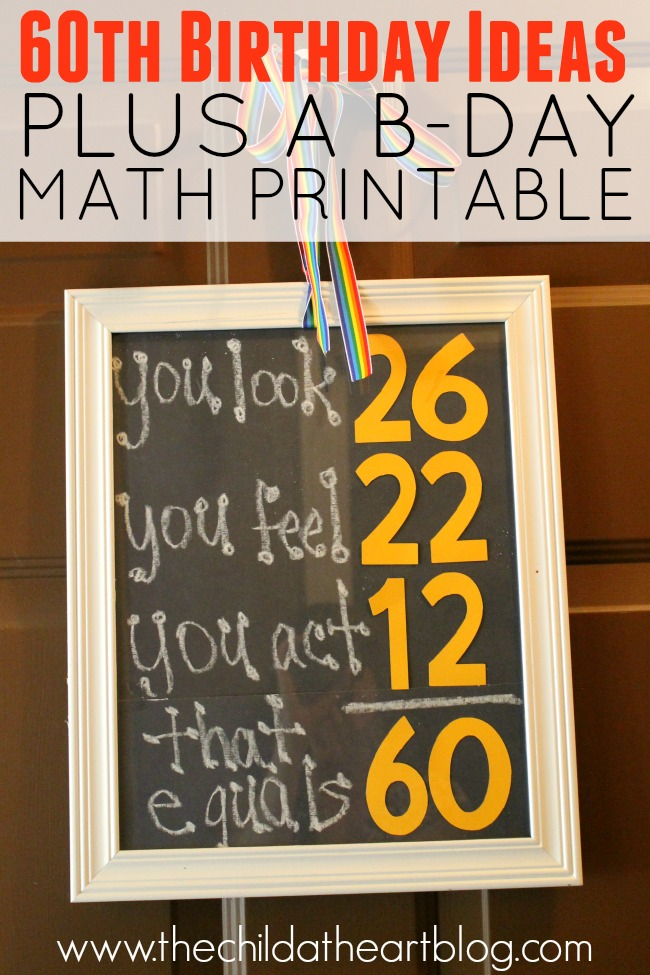 60th Birthday Math Sign Printable and Other Party Ideas on a Budget