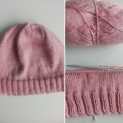 knitting woman hat pink