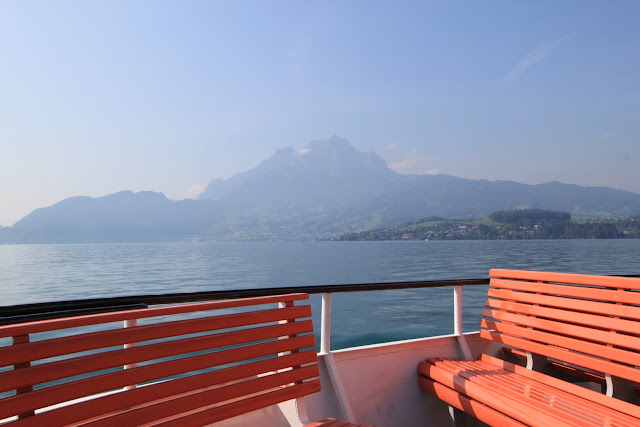 Misty mountain along Lake Lucerne in Lucerne, Switzerland