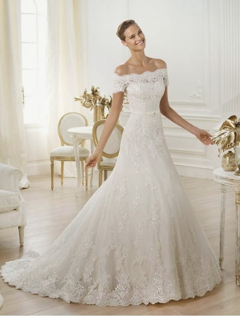 off-the-shoulder wedding dress