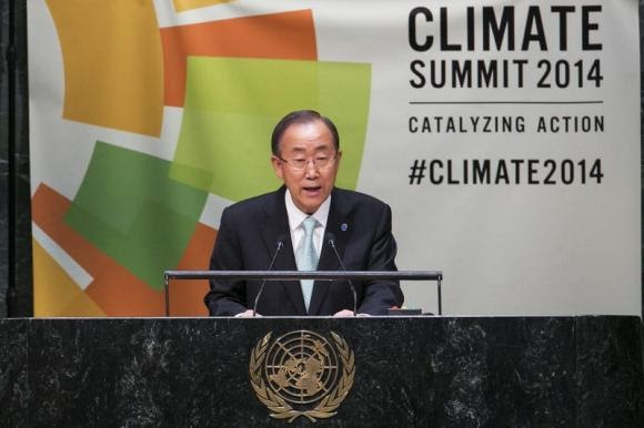 U.N. Secretary General Ban Ki-moon speaks during the Climate Summit at the U.N. headquarters in New York, September 23, 2014. (Credit: Reuters/Lucas Jackson)  Click to enlarge.