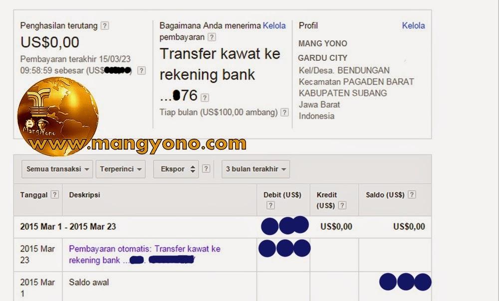 Pembayaran Google Adsense melalui Transfer Kawat ke Rekening Bank