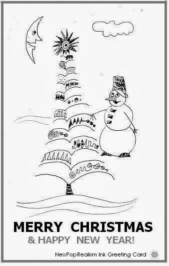 merry christmas happy new year greeting cards neopoprealism ink pen pattern drawing style