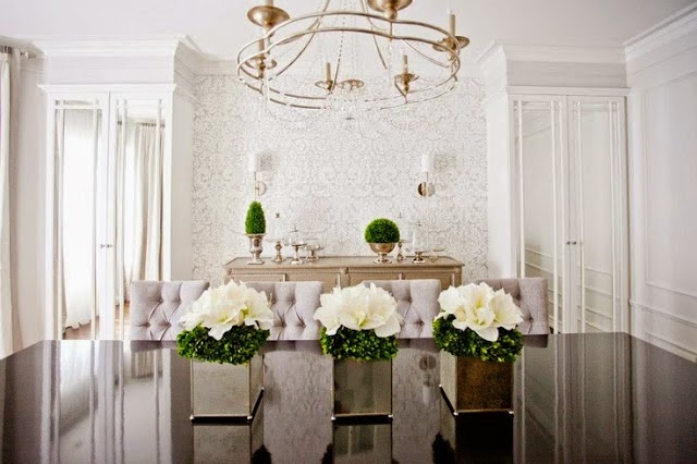 beautiful room - traditional style white dining room with crystal chandelier