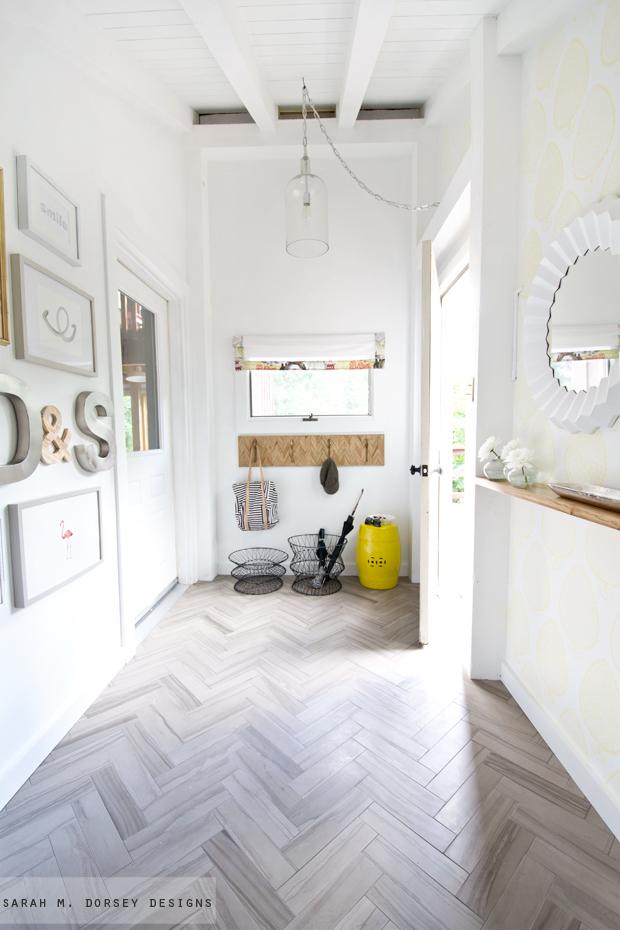 Foyer Tile Herringbone : Sarah m dorsey designs how to install herringbone marble