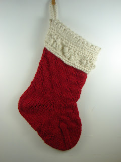 hand knit stocking baby alpaca red cream  white
