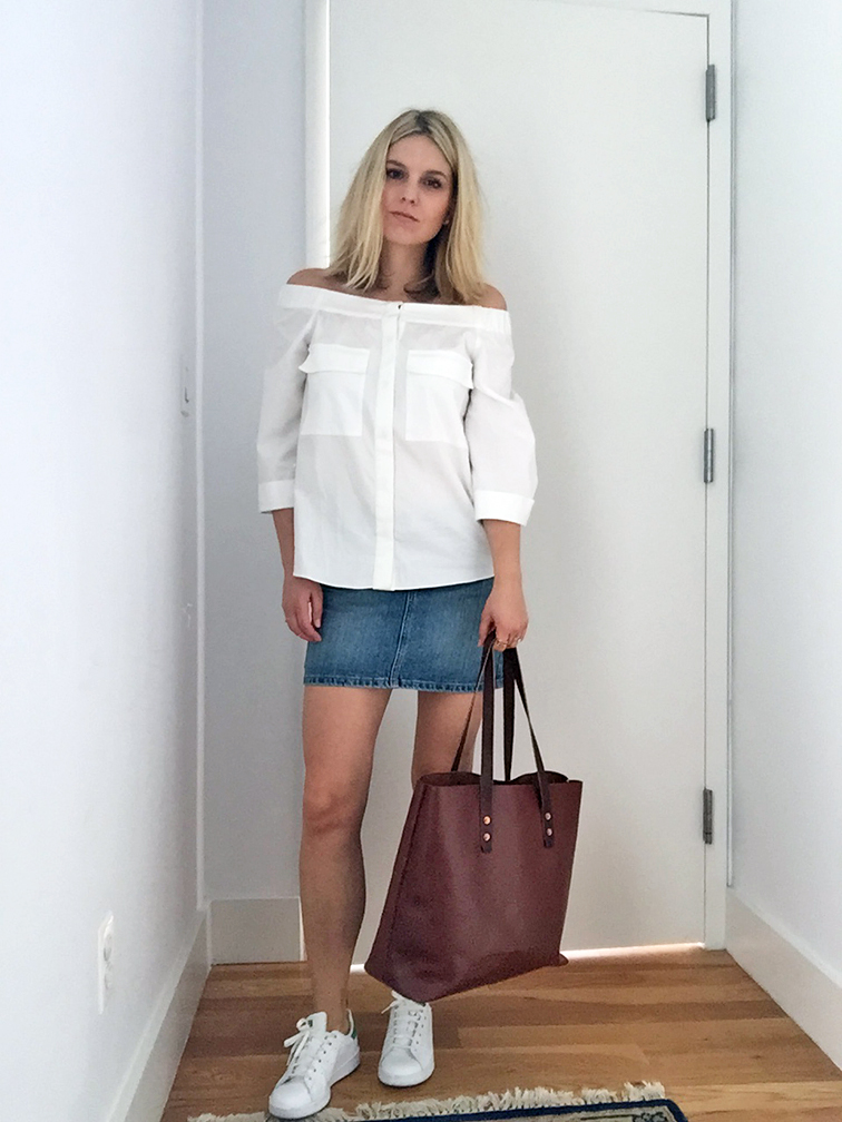 Fashion Over Reason spring summer 2015 style, H&M off the shoulder top, denim mini skirt, Adidas Stan Smith sneakers, Whipping Post tan leather tote bag