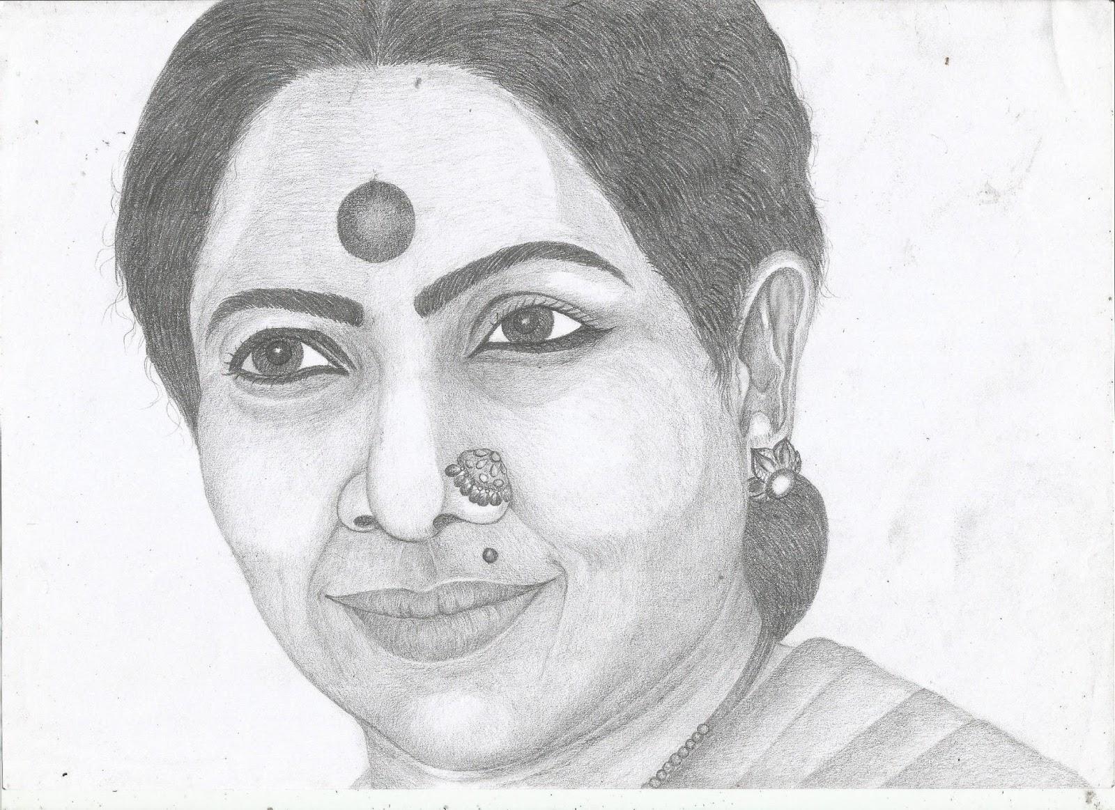 Jackhi pencil drawing manorama tamil actress pencil sketch