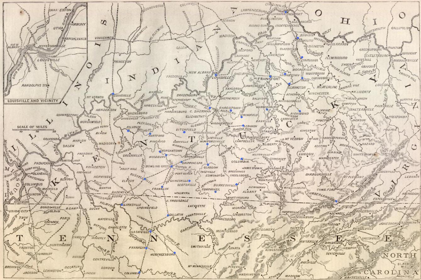 harper s weekly map of kentucky campaign september 1862 courtesy of www sonofthesouth com annotated by the editor