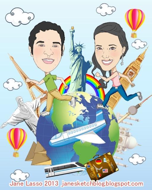 Caricatura en pareja recorriendo el mundo hecha por Jane Lasso