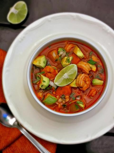 Caldo de Camarón (Mexican Shrimp Soup) - lacocinadeleslie.com