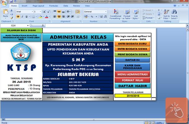 Aplikasi Administrasi Kelas SMP dengan Microsoft Excel