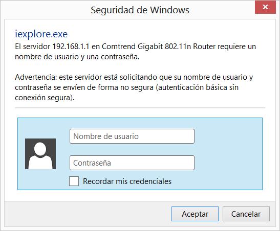 entrar al router:
