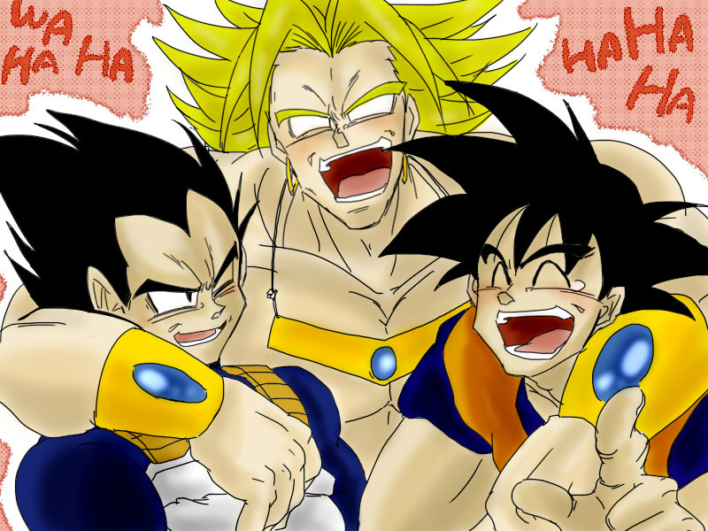 Vegeta Broily Goku Funny Happy Laughing Anime Manga Jokes