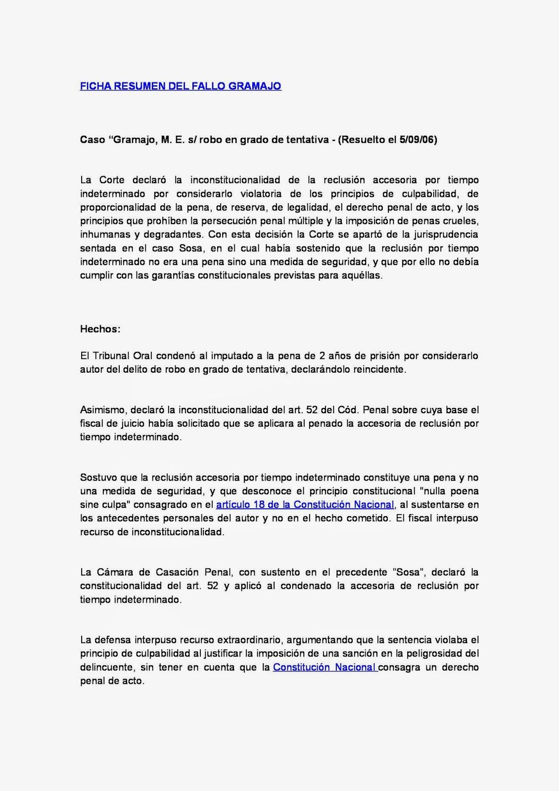 RESUMEN DE FALLOS: SINTESIS DEL FALLO GRAMAJO