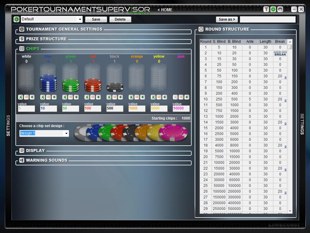 Software para gerenciar torneio de poker