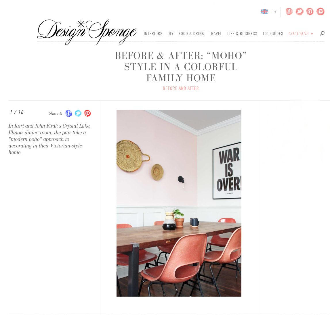 Check out my house tour on Design Sponge!