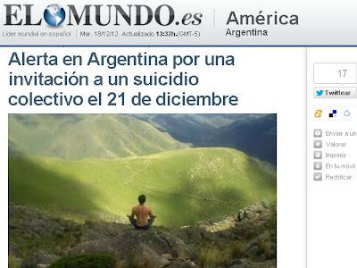 ALERTA EN ARGENTINA POR INVITACION A SUICIDIO COLECTIVO EN EL CERRO URITORCO, EL 21 DE DICIEMBRE