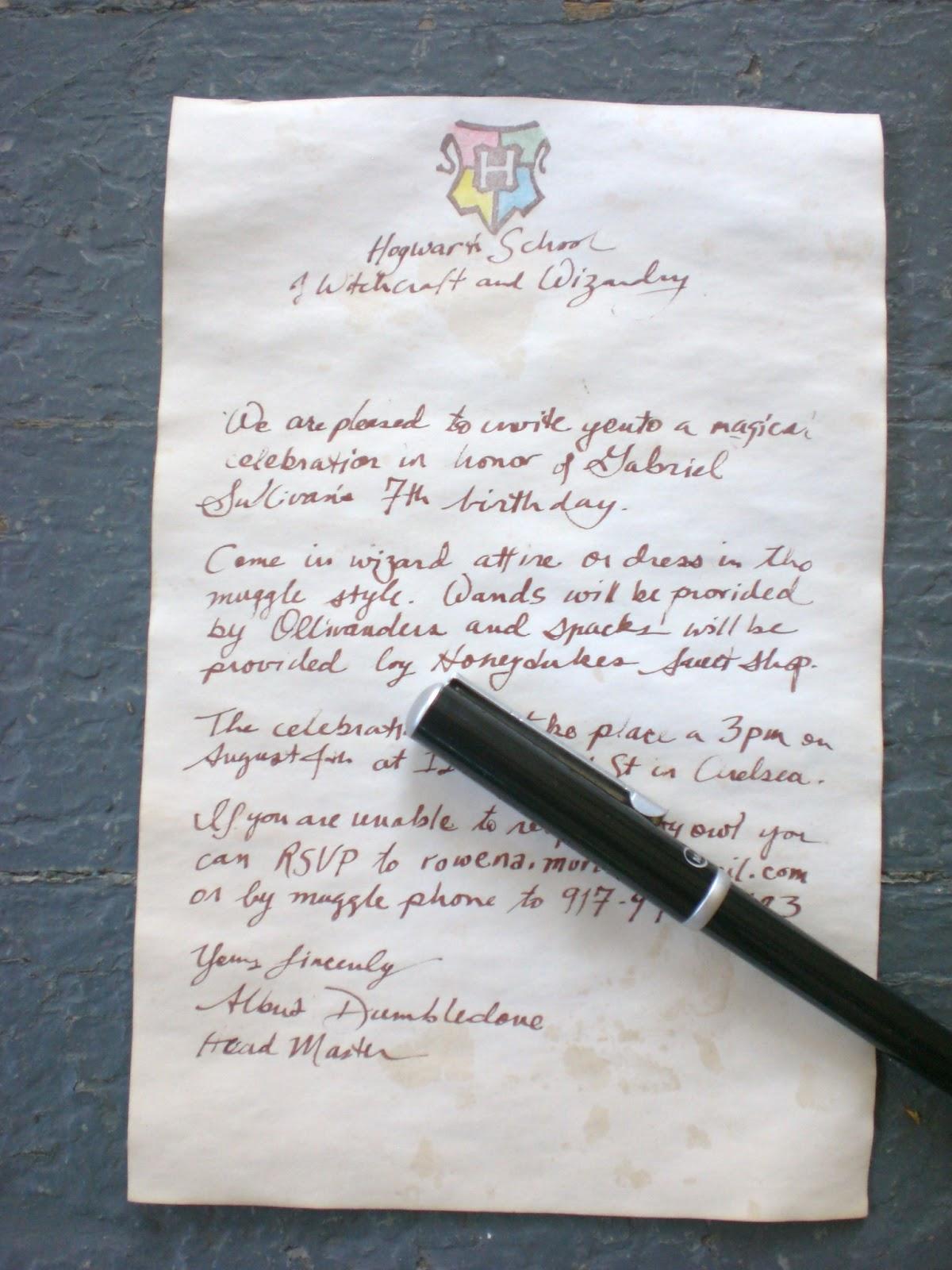 hand made harry potter invites hogwarts party invitations - Harry Potter Party Invitations