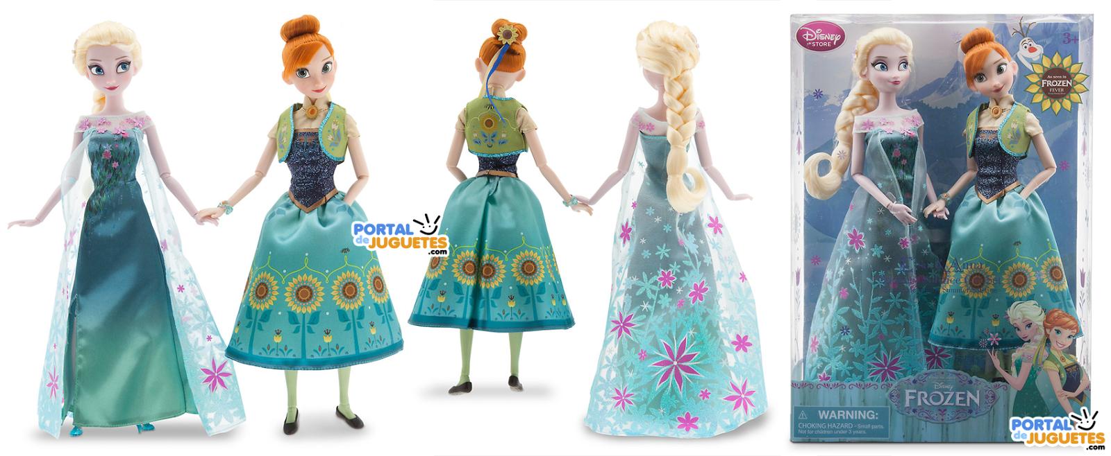 set muñecas elsa anna frozen ever disney store caja
