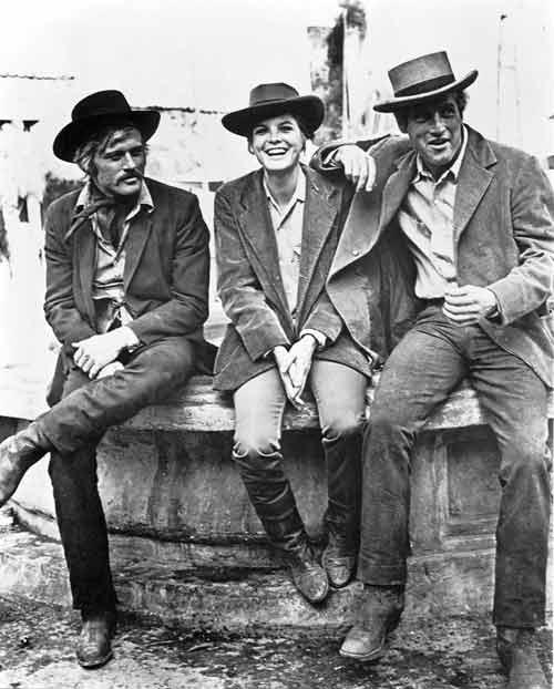 """Robert Redford, Katharine Ross y Paul Newman en el set de  """"Dos hombres y un Destino""""."""