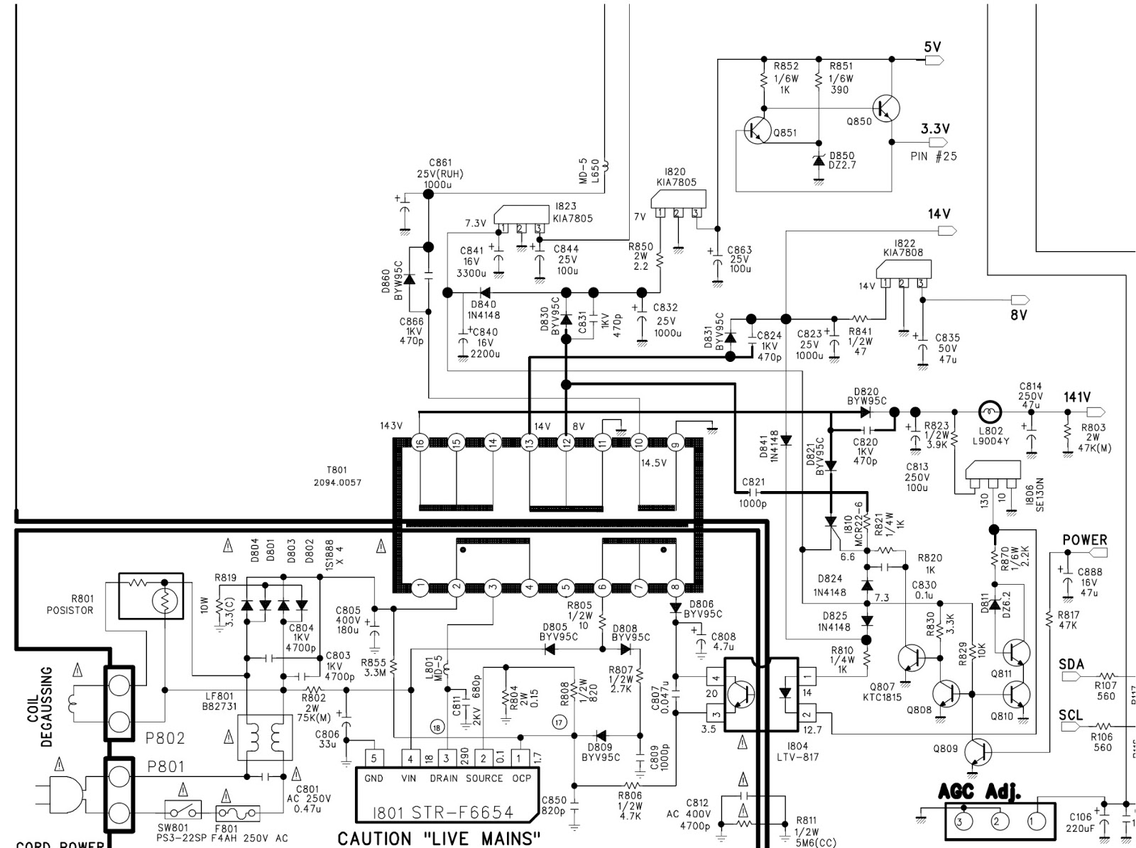 Str F6654 Based Smps Power Supply Schematic Diagram Daewoo Dsc Gold Star Air Conditioner Wiring 3210 Tv Circuit