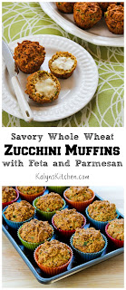 Savory Whole Wheat Zucchini Muffins Recipe with Feta, and Parmesan (plus 25 ideas for baking with zucchini!) [from KalynsKitchen.com]