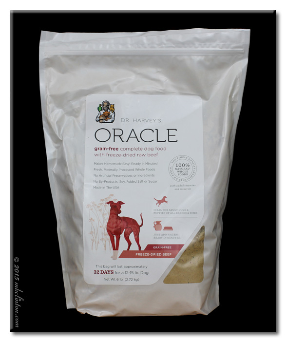 Bag of Oracle Beef Dog Food from Dr. Harvey's