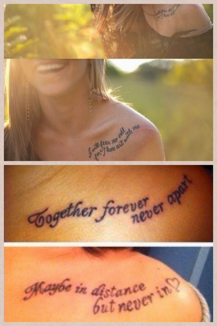 ♥ ♫ ♥ I love the placement of the top pictures but the wording of the bottom pictures! Great friendship tattoo idea! ♥ ♫ ♥