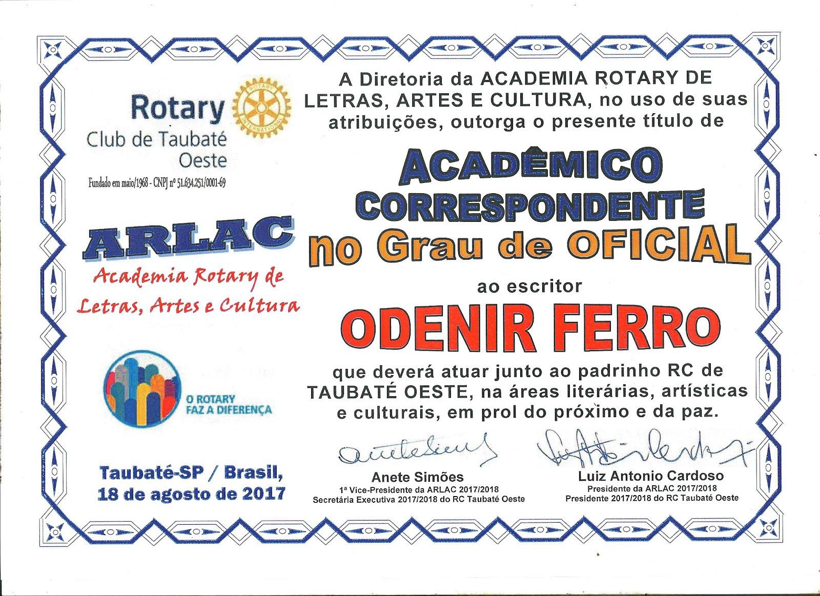 ARLAC Academia Rotary de Letras, Artes e Cultura