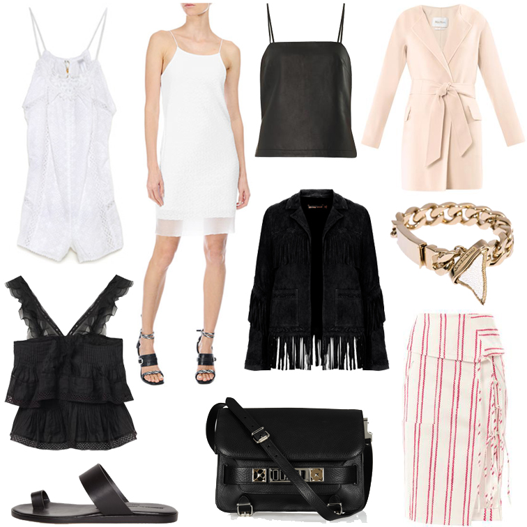 Ultimate wish list: Zimmermann eyelet romper, Rag & Bone white slip dress, T by Alexander Wang camisole, Max Mara pink coat, Givenchy shark tooth chain bracelet, Altuzarra skirt, Kate Moss for Topshop suede fringe jacket, Altuzarra skirt, PRoenza Schouler cross body bag, Common Projects minimalist sandal, Isabel Marant ruffle tank