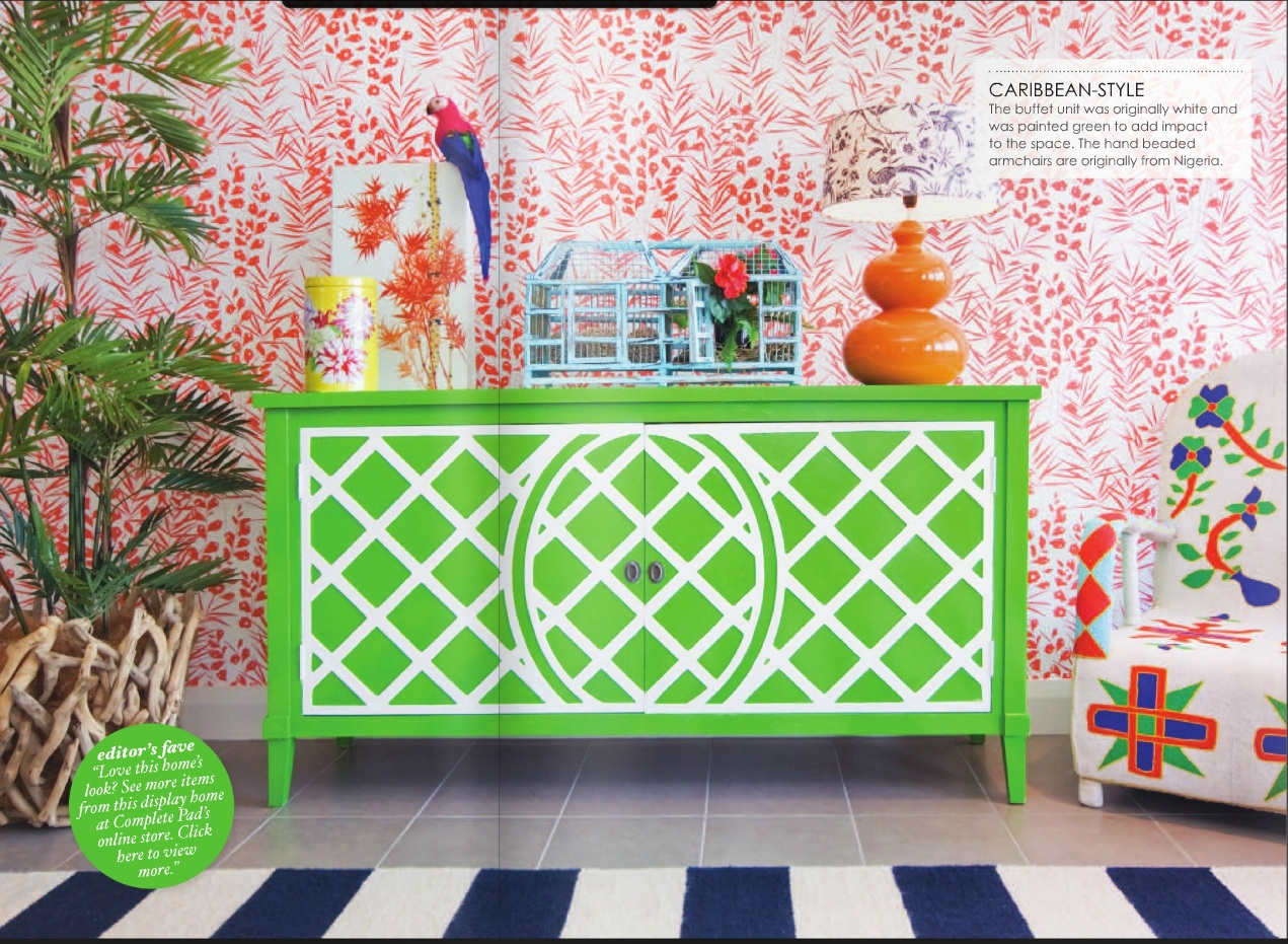 A colourful interpretation of the Caribbean style by Touch Interiors  featured in Adore Magazine