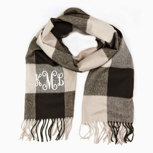 Beige Plaid Monogram Cashmere Feel Fringe Scarf from emilyrosejewellery