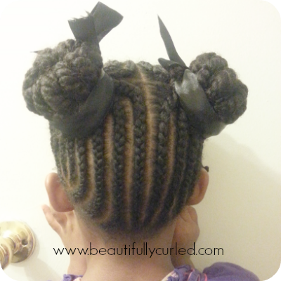 Double Buns With Cornrows and Twists
