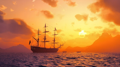 Sunset Ship at Sea Wallpaper