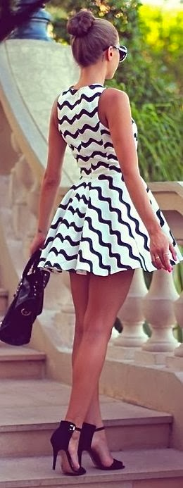 White With Black Waves Mini Dress