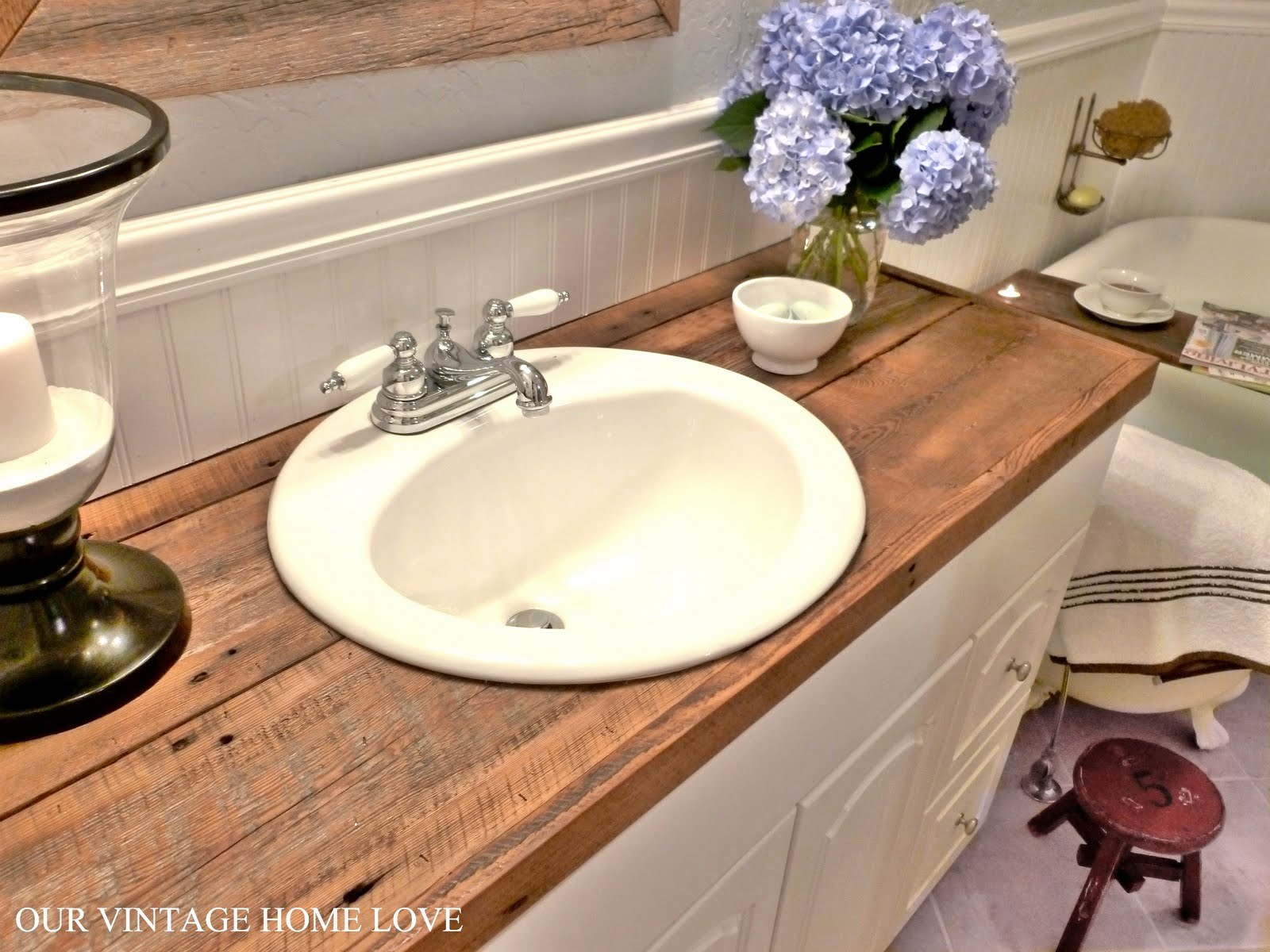 Vintage home love master bath redo featuring reclaimed for Bathroom counter designs