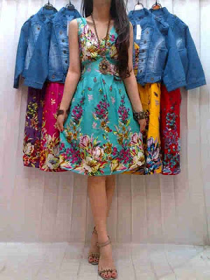 Dress Katun Flower dan Rompi Jeans