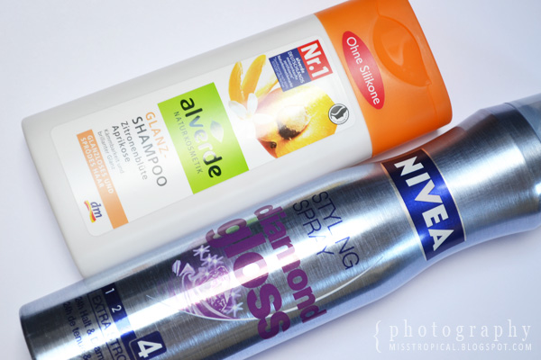 Alverde Glanz-Shampoo Nivea Styling Spray diamond gloss