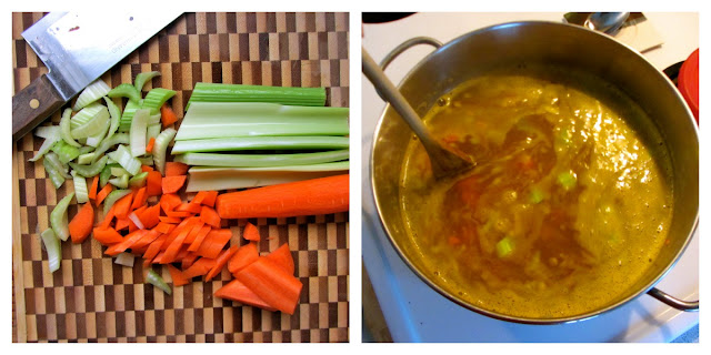 chopped carrots and celery on a bamboo cutting board and soup simmering in a large metal pot on the stove