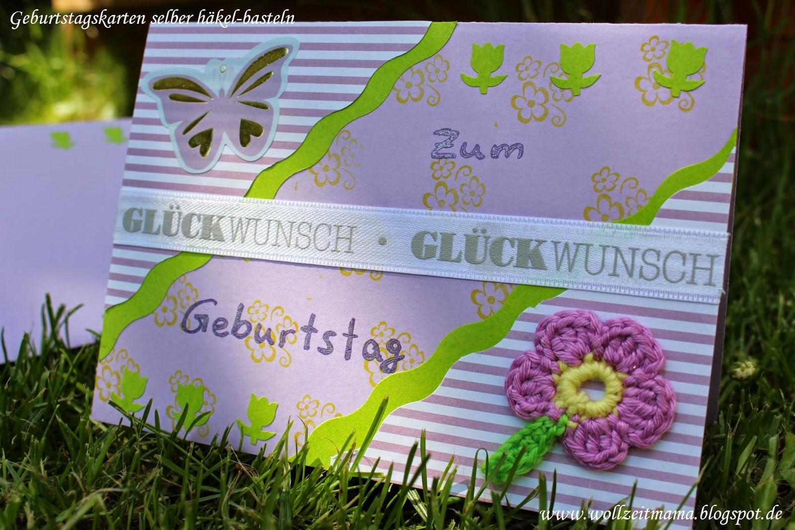 Geburtstagskarte selber basteln mit gehäkelter Blume