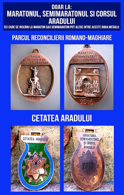 Florin Chindea. Maseur oficial la Maratonul, Semimaratonul şi Crosul Aradului. 6 iunie 2015. Medalii Maraton Arad