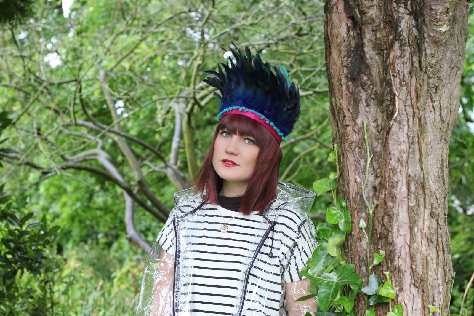 dulcie;s feathers, festival, costume, feather headdress,