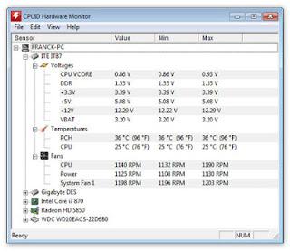 HWMonitor هو برنامج لتتبع وقراءة صحة النظام كـ الفولتية و ودرجة حرارة الجهاز وسرعة المراوح