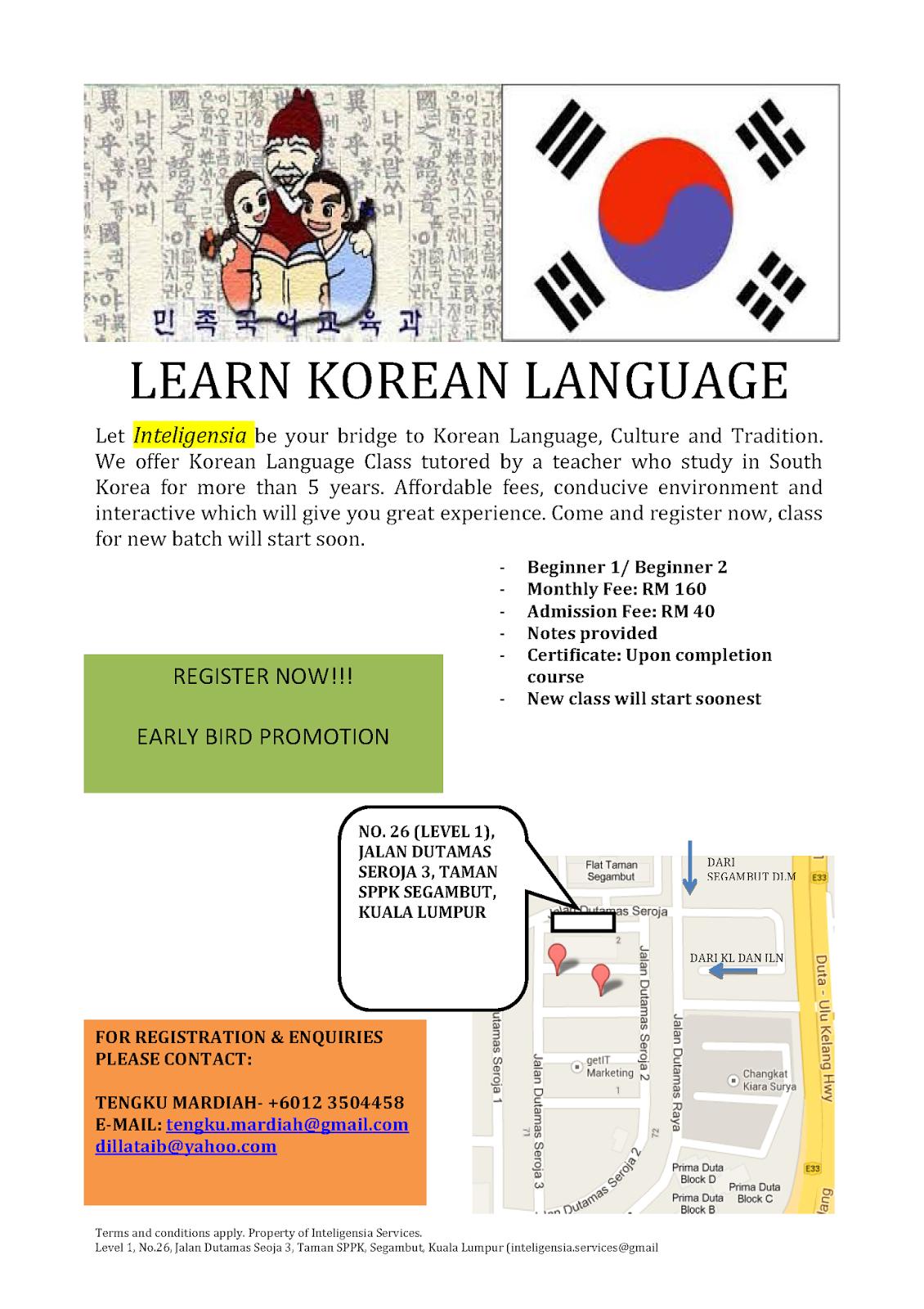Kelas bahasa Korea Korea Language Class Area Kuala Lumpur Selangor